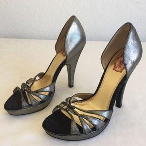 Hale Bob silver metallic heels